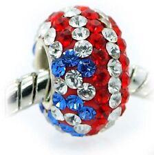 """USA Flag , Red, White, Blue"" Swarovski Crystal Bead for European Bracelet"
