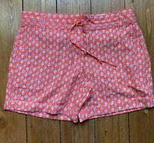 Próxima Naranja Coral Lino Pantalones Cortos Petite Nuevo