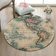 Wolrd Map Home Decor Round Carpet Large Soft Floor Area Rug Kids Play Mat 23.5""