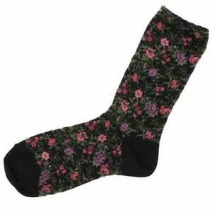 Flower Pattern Socks - Black