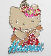 Hello Kitty Hula Girl HAWAII Ukulele Guitar Metal Charm Key Ring Chain Keychain