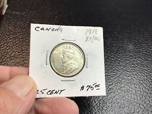 1918 Canada Silver 25 Cent, Nice Extra Fine/Almost Uncirculated!