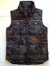 New $149 Grey Black Camo Puffer Vest Jacket L Buffalo David Bitton Hidden Hood