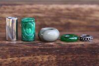 Set of 5 | Gemstone + Stainless Steel Dreadlock Beads 5/7mm Hole (3/16-1/4 Inch)