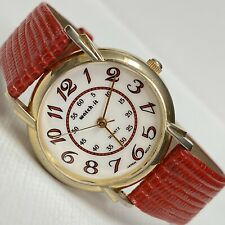 Vintage Advance watch-it Retro Women's Gold Red Leather Watch FS300R Works NICE