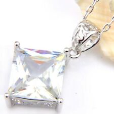 Square Cut Mother's Day Gift White Fire Topaz Platinum Plated Necklace Pendants
