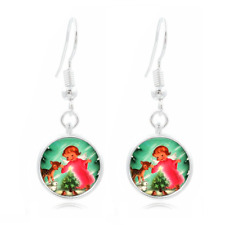 16Mm Glass Cabochon Long Earrings #440 Christmas Tree Tibet Silver Dome Photo