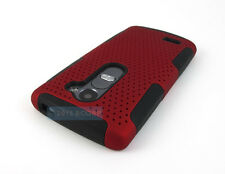 FOR LG TRIBUTE 2 LS665 SUNSET L33L RED BLACK PERFORATED NET HYBRID CASE COVER