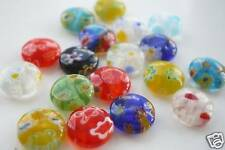 25 X 8mm Assortiment Coloré Plat Rond Millefiori Perles
