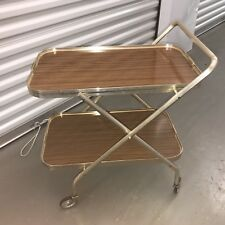 🌟Vintage Gold & Wood Veneer Folding Drinks Tea Trolley Mid Century Modern