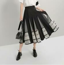 Womens Ladies New Fashion Mesh Splicing High Waist Falbala Flared Midi Skirt 714