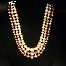 Vintage Triple Strand Faux Pinkish Graduating Pearl Necklace with crystal JAPAN