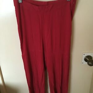 V BY VERY - CHERRY RED CRINKLE EFFECT CROPPED WIDE LEG TROUSERS - SIZE 12