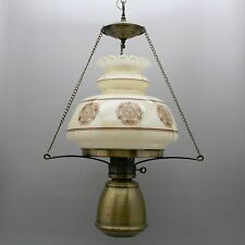 """Vtg 28"""" Tall Hanging Parlor Lamp Glass Shade Pendant Ceiling Spot Light 3 Chains"""