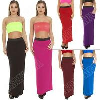 New Womens Ladies Plain Bodycon Long Tube Gypsy Maxi Skirt Dress Size 8-10-12-14