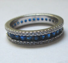 925 SILVER ETERNITY WEDDING BAND 3 layers CZ STONES blue  5 MM WIDE SIZE 6.5,
