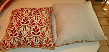 Pair of Burgundy Beige Leaf Print Throw Pillows  20 x 20