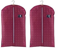2x DomoPak Ella Burgandy pattern SUIT COVER carrier travel dress bag garment
