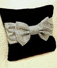handmade decorative black crushed velvet  cushion pillow with silver glitter bow
