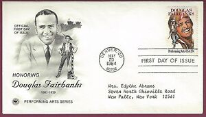 Douglas Fairbanks First Day of Issue Postal Cover, 1984