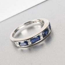 9K White Gold Natural Burmese Blue Sapphire and Diamond Band Ring 1.25ct
