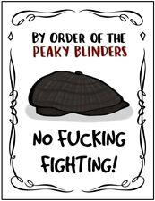 Peaky Blinders No Fighting! VINTAGE Metal Pub Shed GARAGE BAR Wall Man CAVE Sign