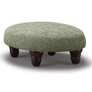 Biagi Upholstery & Design Hedgerow Green Small Oval Footstool with Wood Feet