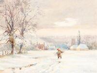 JOSEPH RUBENS POWELL BRITISH WINTER OLD ART PAINTING POSTER PRINT BB5986A