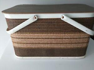 Vintage REDMON Metal Wood Picnic Basket Woven Vinyl Brown Tan EUC