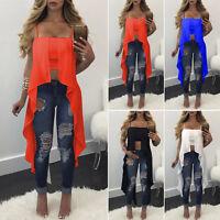 Women's Sexy Casual Sleeveless Spaghetti Strap Irregular Hem Tops Shirts Blouse