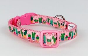 """Cactus cat or small dog collar 1/2""""wide adjustable handmade bell or leash"""