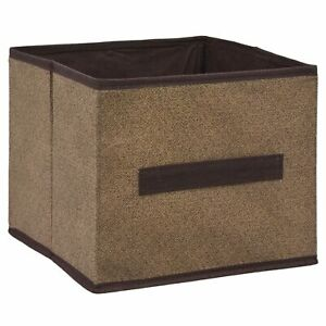 4 Chocolate Brown Collapsible Storage Cube Organizer Bins Set with Handle 9x9x8