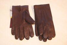 Paire de gants marron foncé en cuir et soie neuf taille 7.5