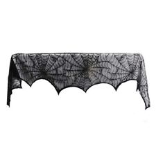 1 Piece Lace Spiderweb Fireplace Cloth for Halloween Decoration Black Z9A8