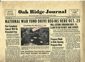 Oak Ridge, TN, ATOMIC BOMB, in house 1944 newspaper, Vol 2, No 14, 6 pages, Fine