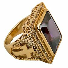 New Men's Clergy Bishop Ring (Subs710P), Gold Plated/Sterling Silver, Christian