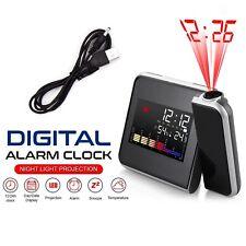 LED Digital Projection Alarm Clock Thermometer Weather Calendar Backlight