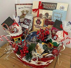 LARGE LUXURY ELEGANT CHRISTMAS HAMPER BASKET PARENTS FAMILY EVERYONE FOOD CUPS