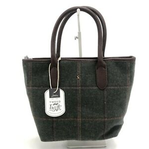 New Joules Tote Bag Green Tweed Zipped Closure Women's 301264