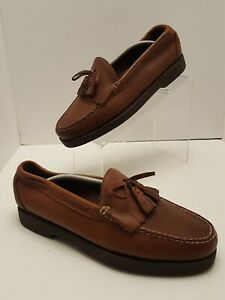 LL BEAN Men's Size 9.5 EE  Tassel Brown Leather Oxford Boat Deck Shoes