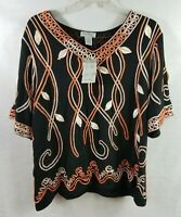 Coral Bay Short Sleeve Top Plus Size 2X Black Ivory Orange Raised Embroidery NWT