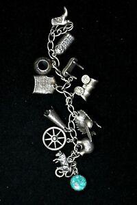 "Western Theme Antique Charm Bracelet Sterling Silver 38g, ""Old West"" 99c NR"