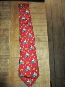 Citime-Ancienne cravate Babar sur cheval de bois-100% soie-Neuve-1993