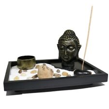 Zen Garden Buddha Head Sand Rocks Incense Sticks Tealight Candle Feng Shui