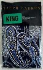 New! Ralph Lauren Cobalt Blue Paisley Azzurra King Pillow Sham Button Closure