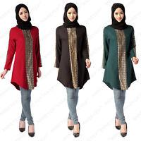 Kaftan Abaya Jilbab Islamic Muslim Women Long Sleeve Loose Shirt Tops Maxi Dress