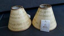 2 Paper Chandelier Sconce Shades Clip On Music Gold Parchment Romantic Regency