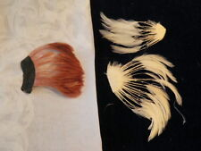 """Vintage Millinery Flower Feather Trim Collection 5"""" -7"""" Ivory Cinnamon H1430"""