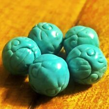 5 Antique Tibetan Style Carved Turquoise Prayer Beads Buddhism DZI Amulet Charms