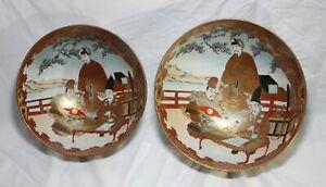 Set of Two Large Japanese Meiji Era Kutani Bowls-Hand Painted Porcelain w/ Gold